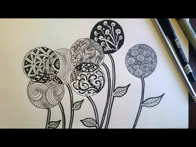 Zentangle Inspired Flowers Zendoodle Art Beginner