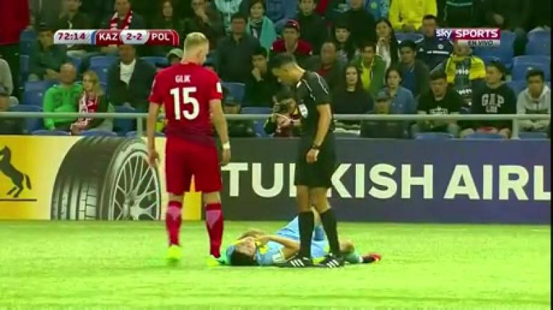 Лечебная нога польского футболиста вывела казахстанского симулянта на чистую воду