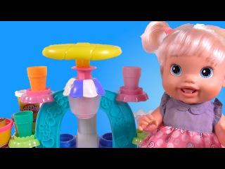 Куклы Пупсики Бэби Элайв мороженое из Play Doh Плей До Как Мама Игры и игрушки для девочек