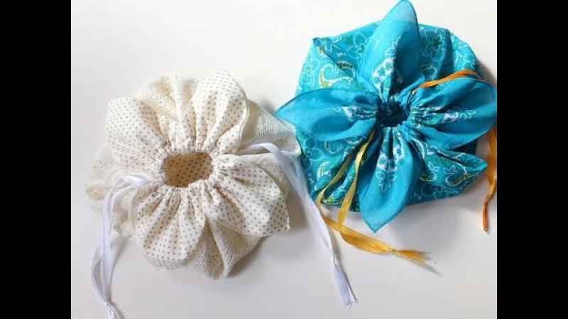 DIY ** Petal drawstring bag tutorial, by hand sewing. **