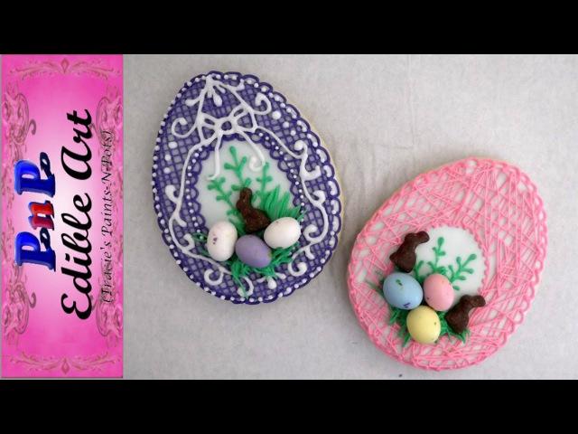 2 'String Basket' Easter Egg Cookies