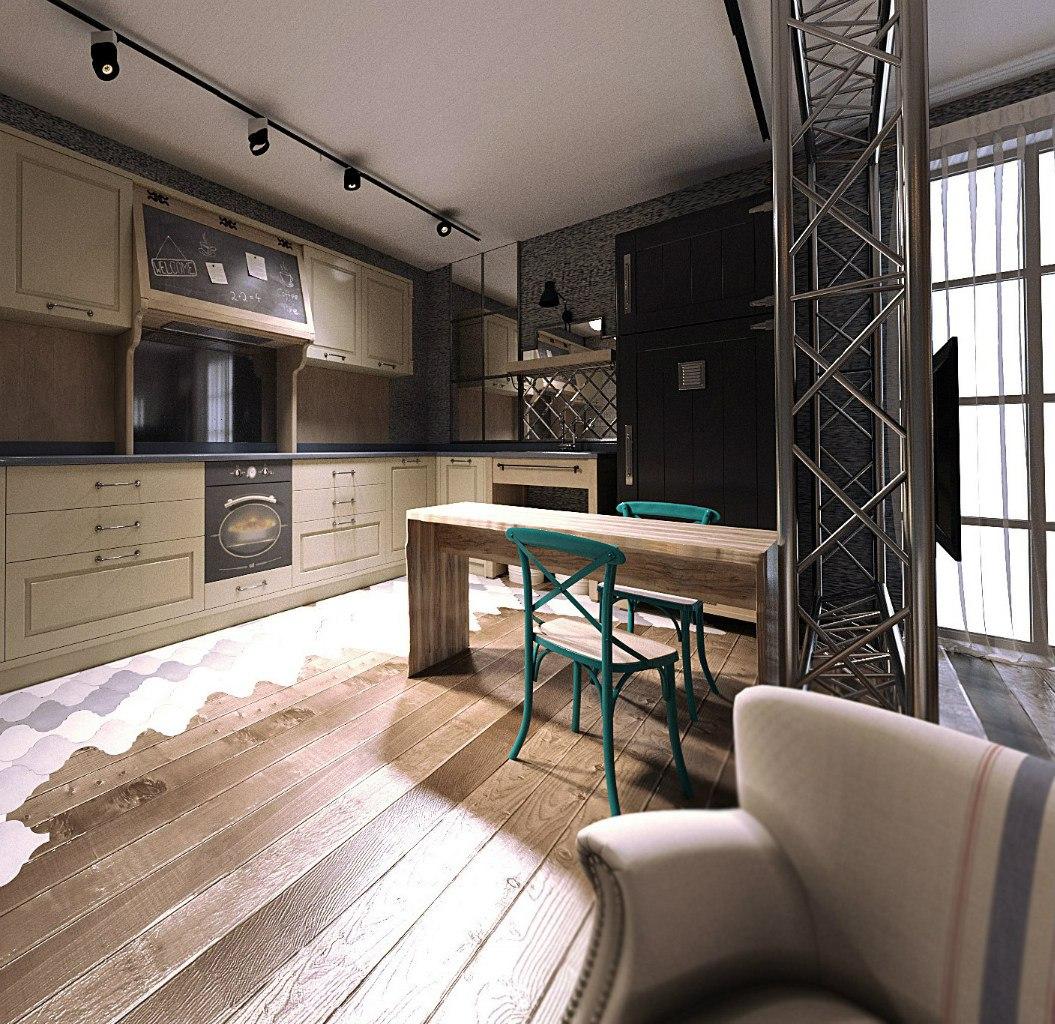Проект апартаментов 40 м в винтажном стиле.