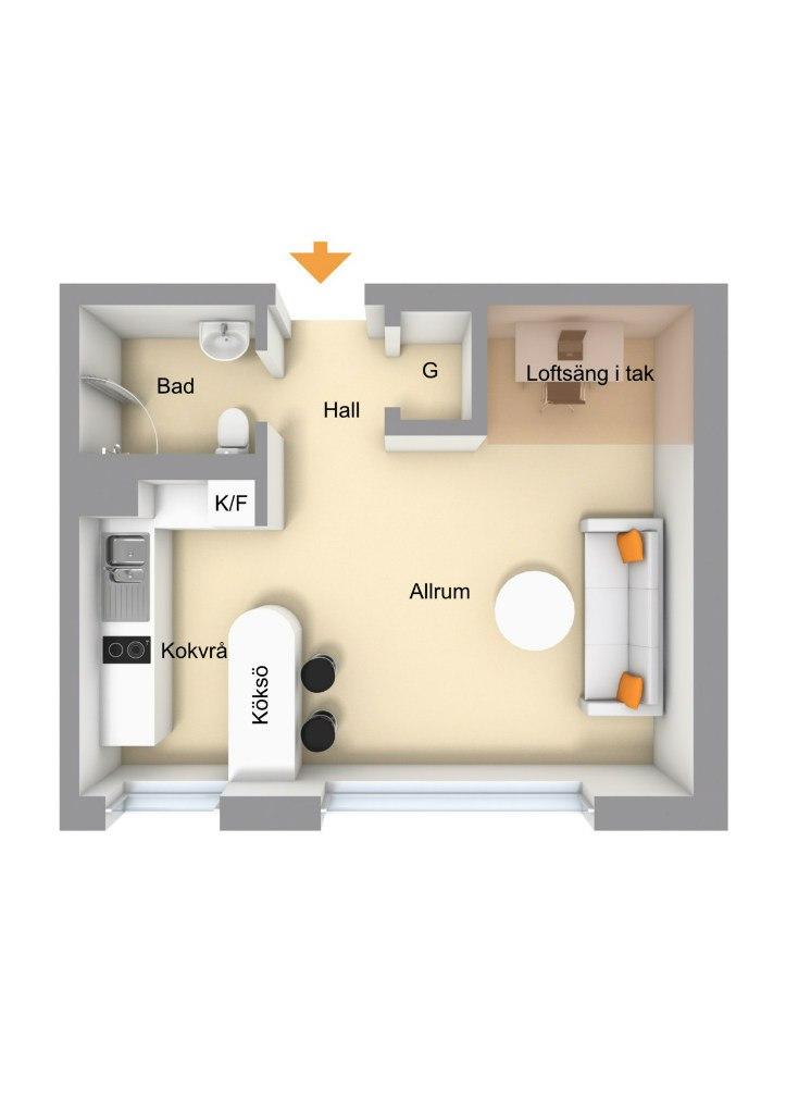 Квартира-студия 25 м с кроватью-чердаком.