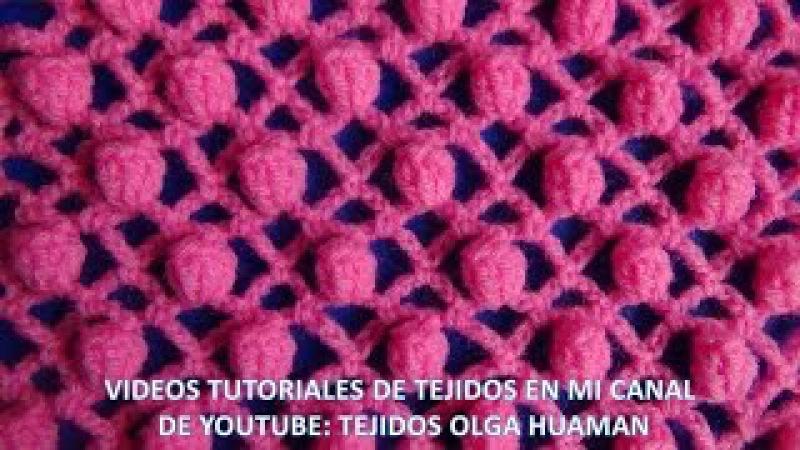 Punto popcorn combinado con puntos red tejido a crochet para blusas y salidas de alberca