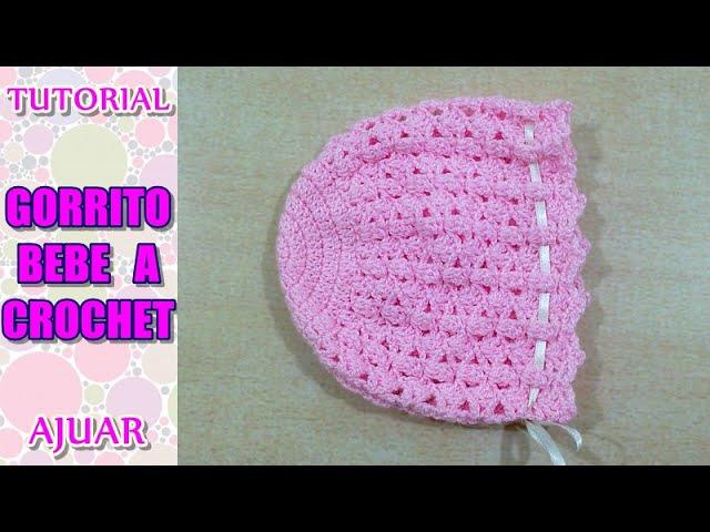 Cómo tejer gorrito para bebé a crochet, ganchillo AJUAR