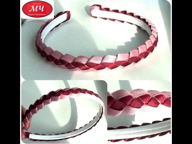 Мастер класс косичка из лент Канзаши Цветы из лент DIY Pigtail ribbon
