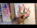 Рисуем тюльпаны акварелью