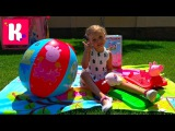 Свинка Пеппа СУПЕР огромная коробка с игрушками Сюрприз из Италии в Бассейне с м...