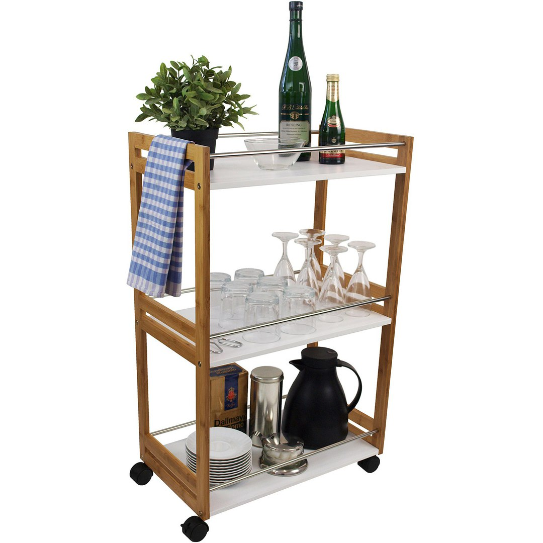 Carro carito de cocina mesa auxiliar camarera almac n for Mesa cocina con ruedas