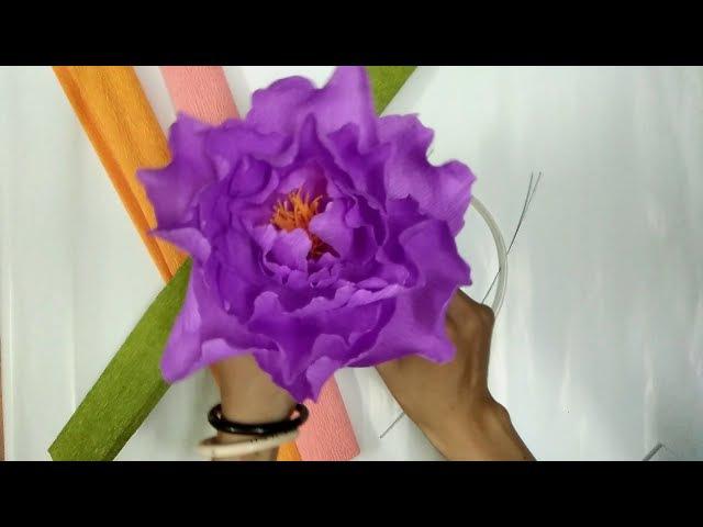 D.I.Y - How to make paper flower - Peony Làm hoa mẫu đơn bằng giấy nhún