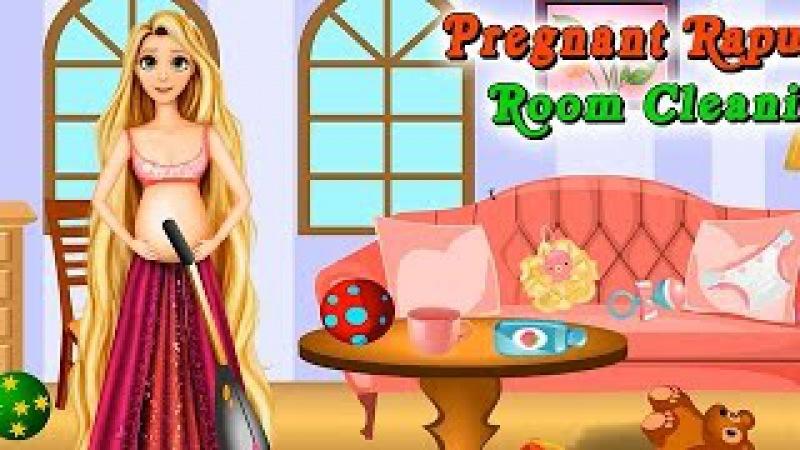 NEW Мультик онлайн для девочек—Беременная Рапунцель уборка в комнате—Игры для детей