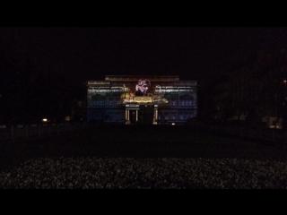 шикарные проекции на фасаде президентского дворца в Сербии