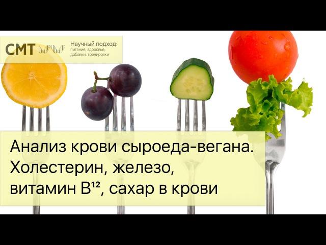 Анализ крови сыроеда вегана Холестерин железо витамин B12 сахар в крови fyfkbp rhjdb cshjtlf dtufyf jktcnthby tktpj db