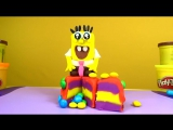 Play Doh Rainbow Cake Spongebob How to make a Rainbow Cake Плей До Лепим торт радуга Губка Боб