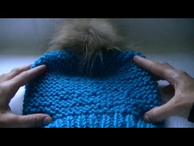 Вязание шапки платочной вязкой.Knitting hats Garter