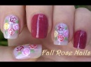 Vintage ROSE NAIL ART In Pastel / Fall Flower Dry Brush Nails With Toothpick