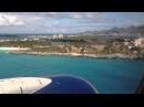 Onboard airplane landing in St. Maarten (SXM) Maho Beach, Delta Boeing 737-700