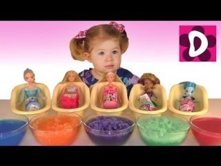 ✿ Кукла Барби в СЛИЗИ и ЖЕЛЕ Монстер Хай Пони Штеффи FROZEN Doll Bath Time Gelly Baff Slime Baff