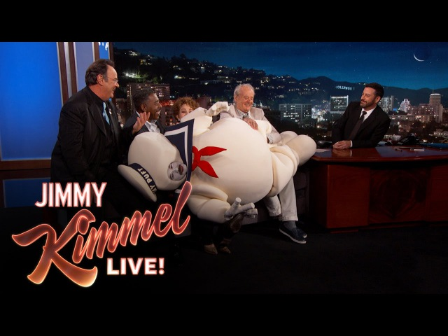 The Original Ghostbusters On The Stay Puft Marshmallow Man