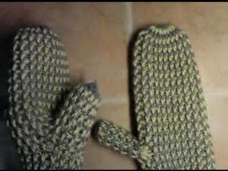 0. Как связать варежки крючком, образец, материалы