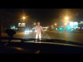 Furious Naked Man Attacks Volvo