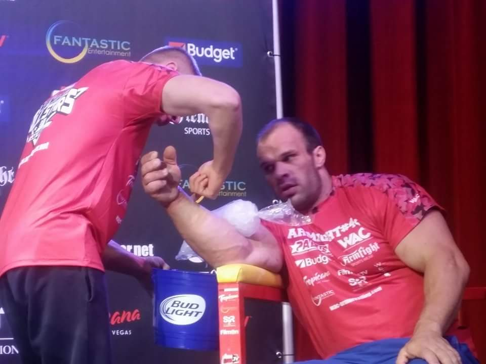 Denis Cyplenkov with ice on his arm, ARMFIGHT 46 VENDETTA ALL STARS, LAS VEGAS │ Photo posted by Irina Way in Армрестлинг главная / Armwrestling / Армспорт