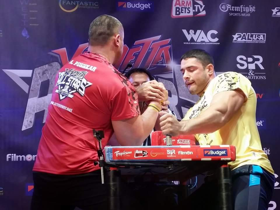 Andrey Pushkar vs. Dmitry Trubin, ARMFIGHT 46 VENDETTA ALL STARS, LAS VEGAS │ Photo posted by Irina Way in Армрестлинг главная / Armwrestling / Армспорт