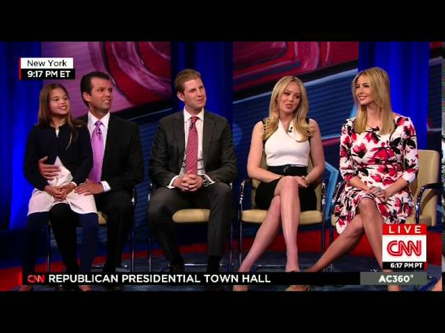 TRUMP FAMILY INTERVIEWED BY ANDERSON COOPER AT THE CNN REPUBLICAN PRESIDENTIAL TOWN HALL