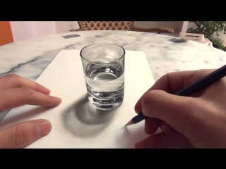 3D Drawing A Realistic Glass of Water AMAZING illusion anamorphic