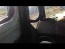 Трамбовка силоса вид из кабины трактора Т 15 к