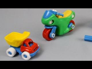 Мультики про машинки - Машинки собирают конструктор мотоцикл. Развивающий  мультфильм для детей.