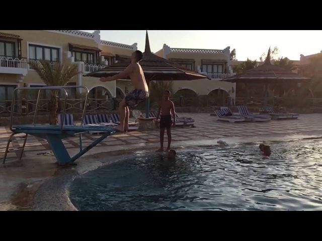 Back flip in pool Egypt Faraana reef
