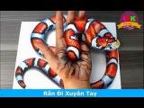 3D Рисунок Змеи На Руке И Бумаге.Невероятно!!!