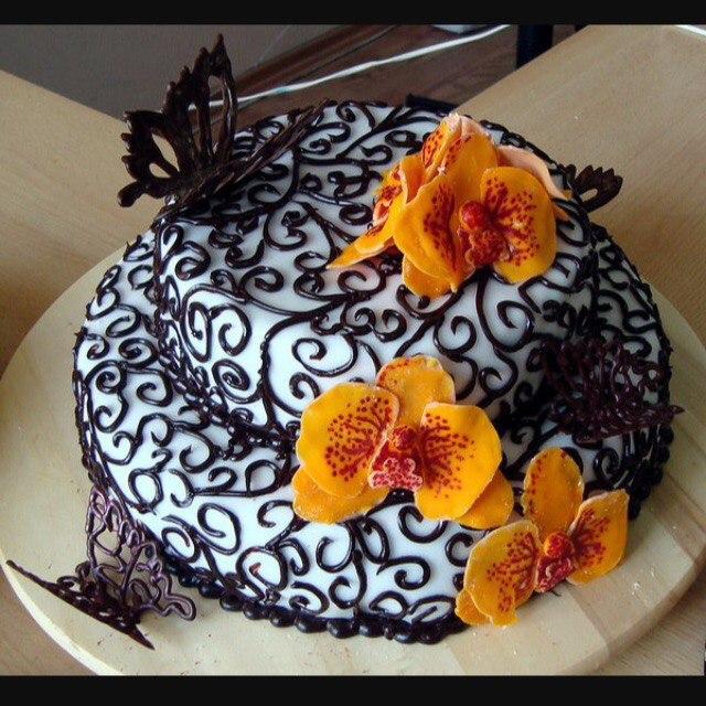 простое украшение тортов фото