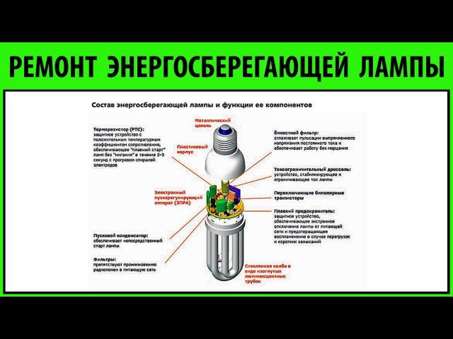 РЕМОНТ №2 энергосберегающей лампы энергосберегающих ламп ПРОСТО О СЛОЖНОМ сможет каждый