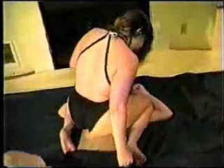 Mixed Wrestling Woman and Man in Office