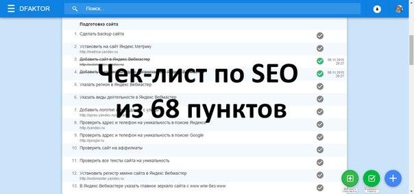 Чек-лист из 68 пунктов для продвижения сайта в ТОП10 Яндекса