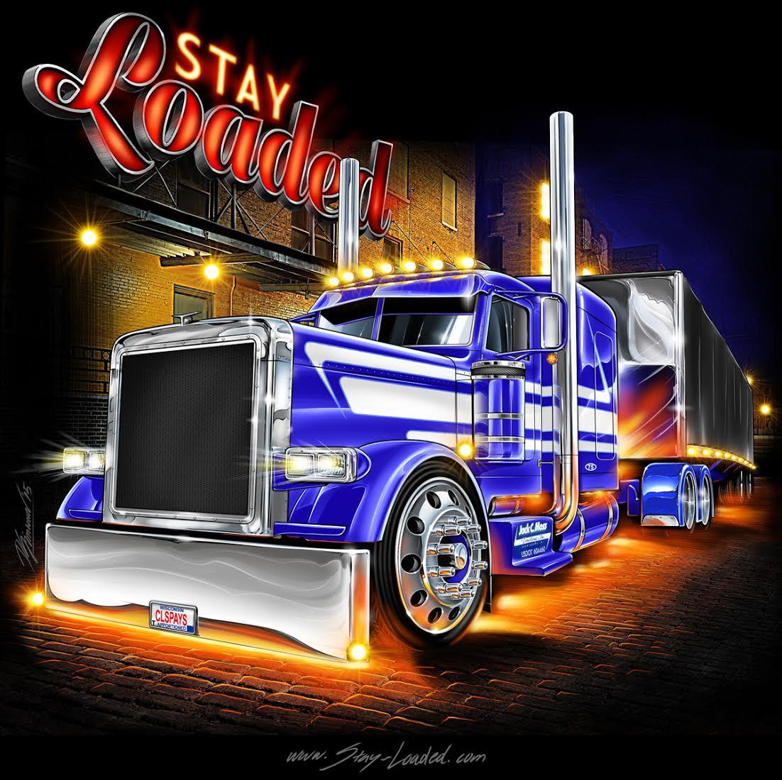 Синий нарисованный американский грузовик topnotchhiphop.com