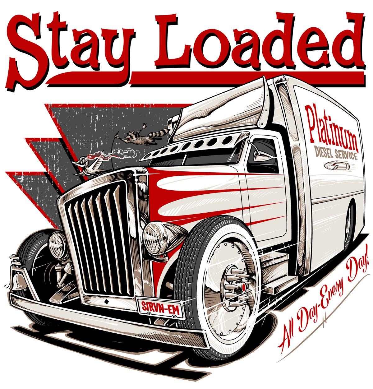 красно-белый нарисованный грузовик