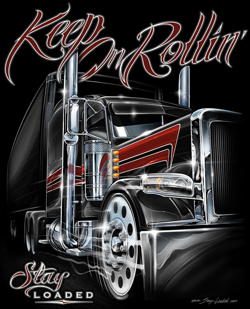 американские крутые грузовики на полотне