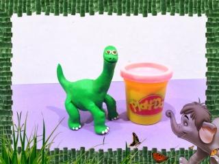 Хороший Динозавр из мультфильм. Лепим из Плэй до пластилина. The Good Dinosaur Play DOh. How make.