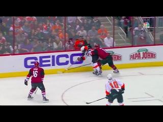 Claude Giroux gets thrown into board by Martin Hanzal - Flyers vs Coyotes (03/26/16)