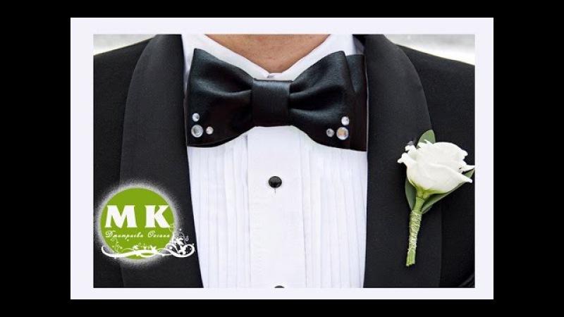Мастер-класс Канзаши. Галстук-бабочка из атласной ленты/Bow tie satin ribbons