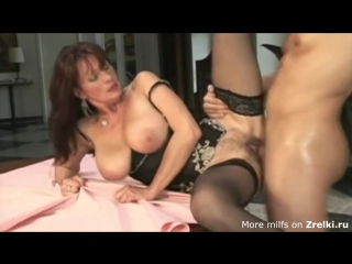 Cute busty mature saggy tits hairy pussy milf mom in black stockings