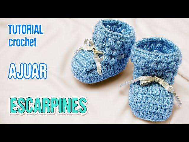DIY Zapatitos Escarpines Punto Puff | Crochet AJUAR varón