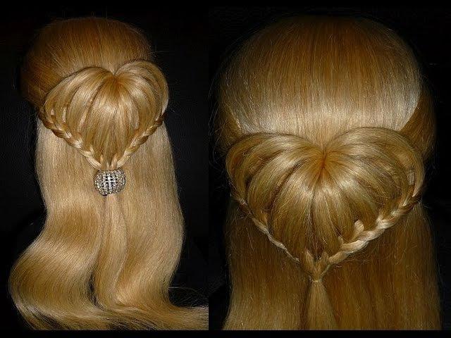 СЕРДЦЕ из волос Причёска для средних и длинных волос Плетение кос волос Причёск