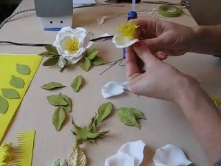 Открытая роза из фоамирана мастер класс часть 1. Foam rose.
