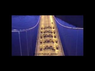 Испытание подвесного моста в городе Семей