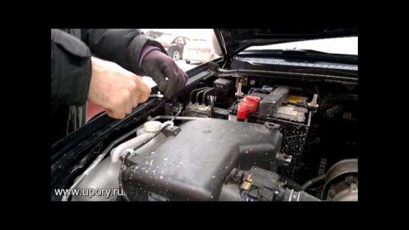 Установка упоров (амортизаторов) капота для Mitsubishi Pajero Sport / L200 от upory.ru
