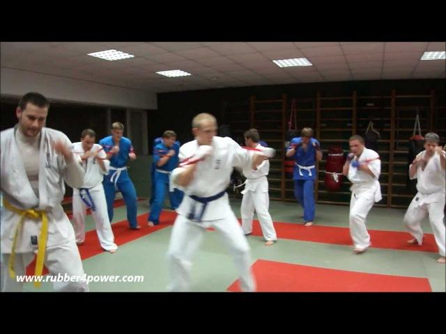 Тренировка с резиновыми петлями в клубе Легион КУДО (KUDO karate resistance bands training)
